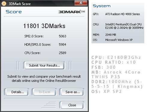 Scor 3DMark 2006 E2180@3ghz
