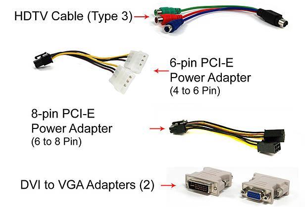 Accesorii EVGA GTX 295 cablu tvout, adaptor molex pci-e, adaptor dvi - vga