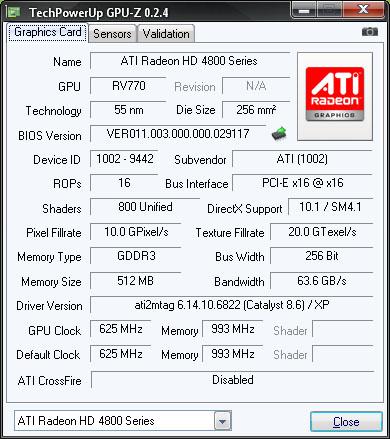 4850 sau cum este vazuta de GPU-Z