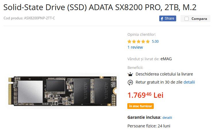 SSD ADATA SX8200 PRO 2TB PCI Express 3.0 x4 M.2 2280