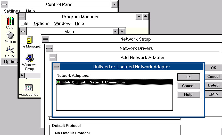 Intel Gigabit drivers on Windows 3.11 NDIS